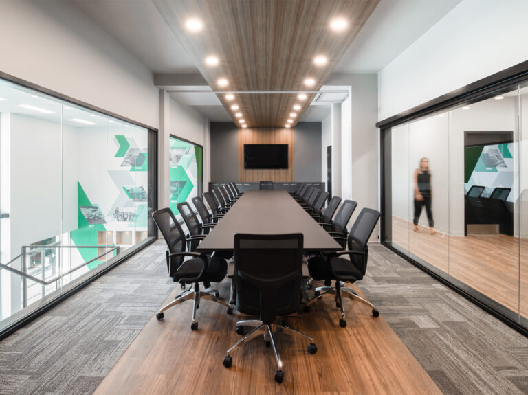 Artopex Take Off Conference table and Vortex Mesh chairs - Soleno