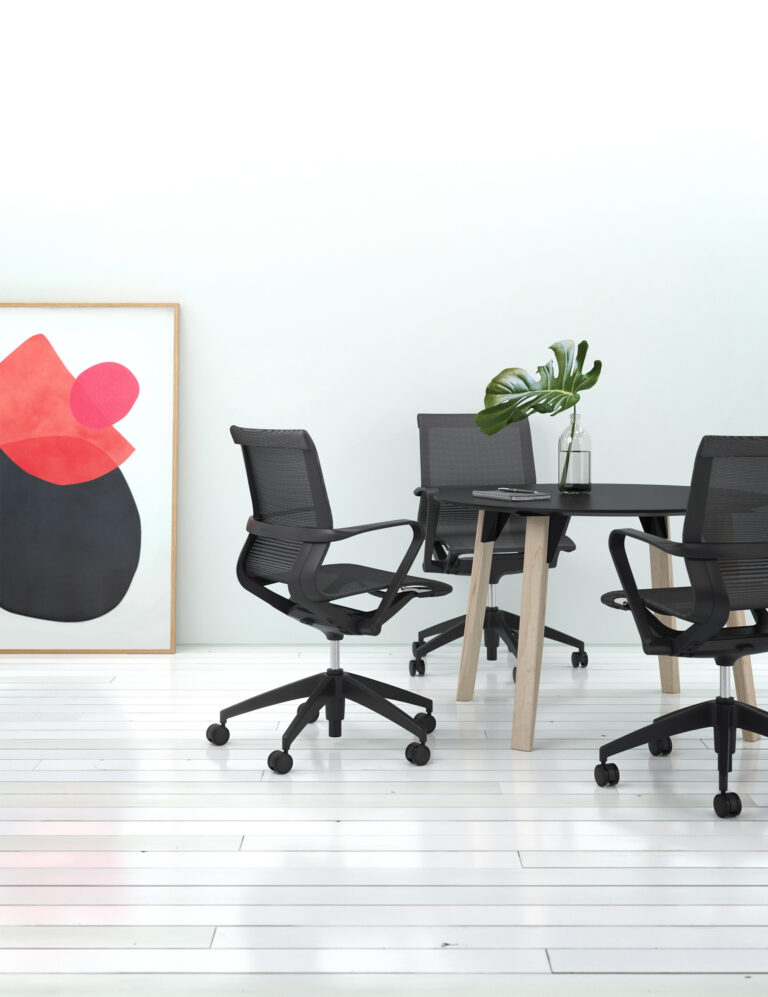 Artopex Take Off Conference round table Fenix finish and Hanso chairs